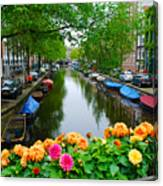 Picturesque View Amsterdam Holland Canal Flowers Canvas Print