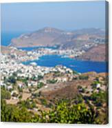 Picturesque View Of Skala Greece On Patmos Island Canvas Print