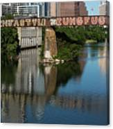 Picturesque View Of The Railroad Graffiti Bridge Over Lady Bird Lake As Canoes And Kayakers Paddle Under The Bridge On A Beautiful Summers Day Canvas Print