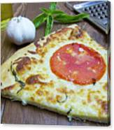 Piece Of Margarita Pizza With Ingredients Canvas Print