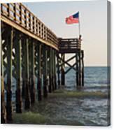 Pier, Flag, Fishing Canvas Print
