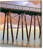 Pier On Beach During Sunrise, Playas De Canvas Print