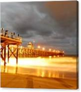Pier On Fire Canvas Print
