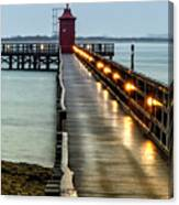 Pier With Lighthouse Canvas Print