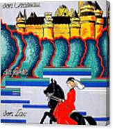 Pierrefonds Castle, Woman On Horse, France Canvas Print
