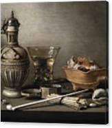 Pieter Claesz - Still Life With A Stoneware Jug, Berkemeyer, And Smoking Utensils 1640 Canvas Print