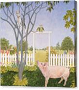 Pig And Cat Canvas Print