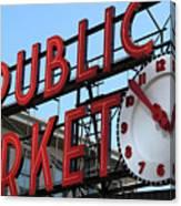Pike Street Market Clock Canvas Print