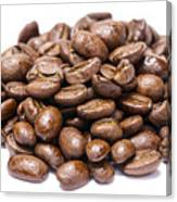 Pile Of Coffee Beans Isolated On White Canvas Print