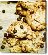 Pile Of Crumbled Chocolate Chip Cookies On Table Canvas Print