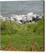 Pile Of Rocks On Shoreline Canvas Print