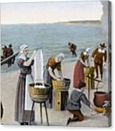 Pilgrims Washing Day, 1620 Canvas Print