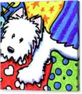Pillow Pile Westie Canvas Print
