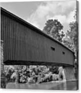 Pinetown Bushong's Covered Bridge Black And White Canvas Print