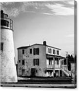 Piney Point Lighthouse - Mayland - Black And White Canvas Print