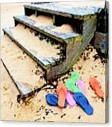 Pink And Blue Flip Flops By The Steps Canvas Print