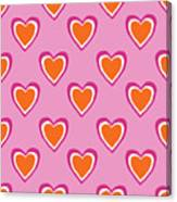 Pink And Orange Hearts- Art By Linda Woods Canvas Print