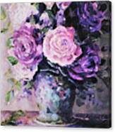 Pink And Purple Roses Canvas Print