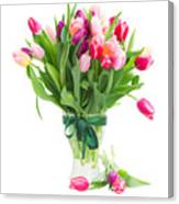 Pink And Violet Tulips Bouquet  Canvas Print