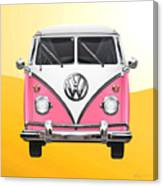 Pink And White Volkswagen T 1 Samba Bus On Yellow Canvas Print