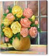 Pink And Yellow Roses Canvas Print