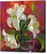 Pink Angel White Lilies Canvas Print