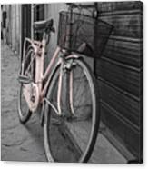 Pink Bicycle In Rome Canvas Print