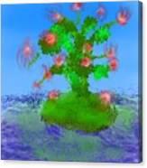 Pink Birds Ongreen Island Canvas Print