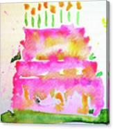Pink Birthday Cake Canvas Print