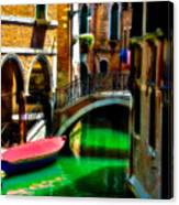 Pink Boat And Canal Canvas Print