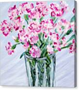 Pink Carnations In A Vase. For Sale Canvas Print