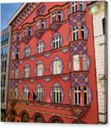 Pink Facade Of The Cooperative Business Bank Building Called Vur Canvas Print