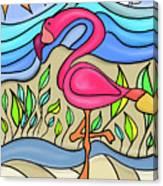 Pink Flamingo Glassy Canvas Print