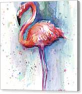 Pink Flamingo Watercolor Canvas Print