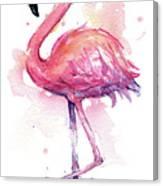 Pink Flamingo Watercolor Tropical Bird Canvas Print