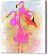 Pink Flamingos In The Park Canvas Print