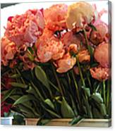 Pink Flowers At The Market Canvas Print