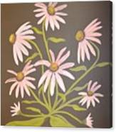 Pink Flowers With Brown Background Canvas Print