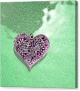 Pink Heart On Frosted Glass Canvas Print