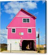 Pink House On The Beach 3 Canvas Print