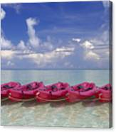 Pink Kayaks Lined Up Canvas Print