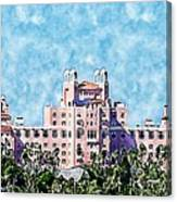 Pink Lady Don Cesar Watercolor Canvas Print