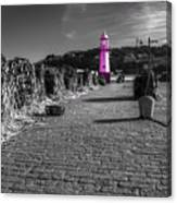 Pink Lighthouse Of St Ives Canvas Print