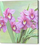 Pink Orchid Photo Sketch Canvas Print