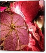 Pink Ornaments Holiday Card Canvas Print