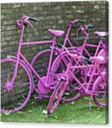 Pink Painted Bikes And Old Wall Canvas Print