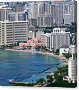 Pink Palace Waikiki Honolulu Canvas Print