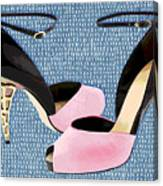 Pink Patent Leather With Sculpted Metal Heels Canvas Print