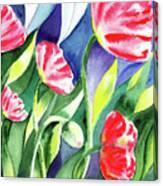 Pink Poppies Batik Style Canvas Print
