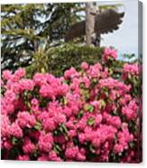 Pink Rhododendrons With Totem Pole Canvas Print